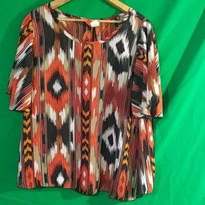 PLUS passport love boho flutter sleeve blouse 1x